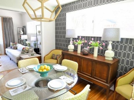 gray-yellow-mid-century-dining-room-credenza-table-lamps-glass-table