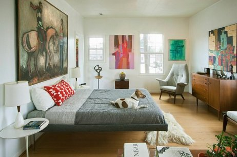 midcentury-bedroom-decor-furniture-ideas-wood-furniture-wall-paintings